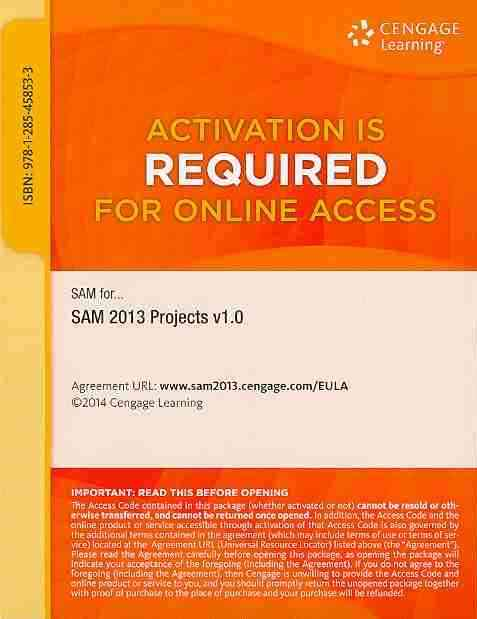 Sam 2013 Projects V1.0 Printed Access Card By Course Technology, Inc.